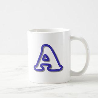Monogram A in 3D Blue Coffee Mug