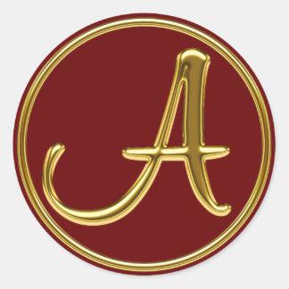 Monogram A in 3D gold Classic Round Sticker