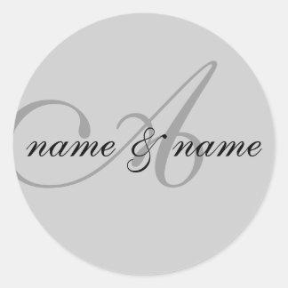 "monogram ""A"" label Classic Round Sticker"