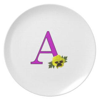 """Monogram """"A"""" Melamine Plate"""