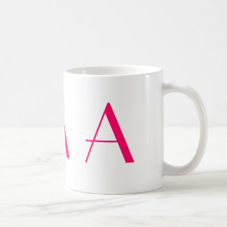Monogram A Pink and White Modern Coffee Mug
