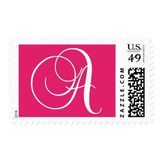Monogram A Postage Stamp Pink