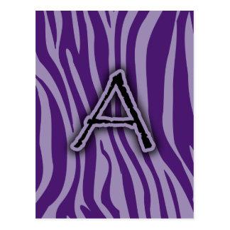 Monogram A Purple Zebra Stripes Postcard