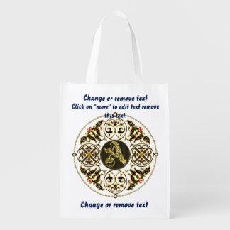 Monogram A Shopping Bag Reusable Market Totes