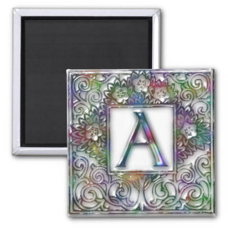 Monogram A- Stained Glass 2 Inch Square Magnet