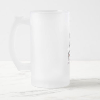 Monogram A USA Flag American Initial Frosted Glass Beer Mug