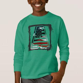 Monogram A USA Flag American Initial T-Shirt
