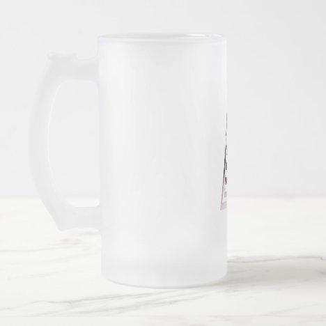 Monogram A USA Flag Frosted Glass Beer Mug