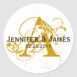 Monogram A White and Gold Wedding Stickers