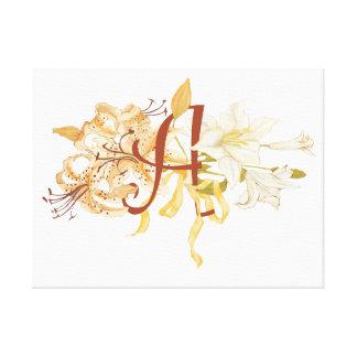 Monogram A with Lily Bouquet Canvas Prints