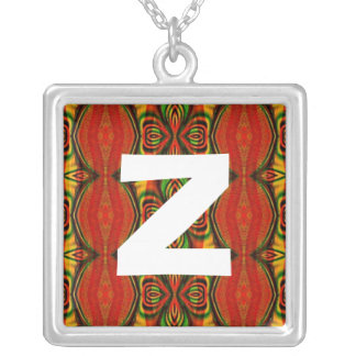 Monogram Abstract 0112 Square Pendant Necklace