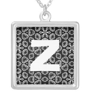 Monogram Abstract 0118 Square Pendant Necklace