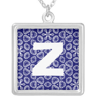Monogram Abstract 0126 Square Pendant Necklace