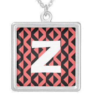 Monogram Abstract 0155 Square Pendant Necklace