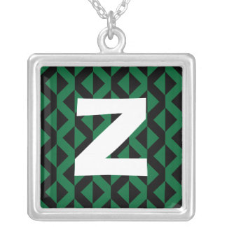 Monogram Abstract 0170 Square Pendant Necklace