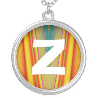 Monogram Abstract 075 Round Pendant Necklace