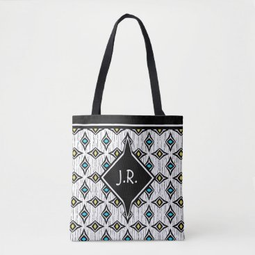 Aztec Themed Monogram abstract blue and yellow diamond pattern tote bag