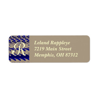 Monogram Abstract Blue waves Label