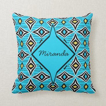 Aztec Themed Monogram abstract blue yellow diamond gemstones throw pillow