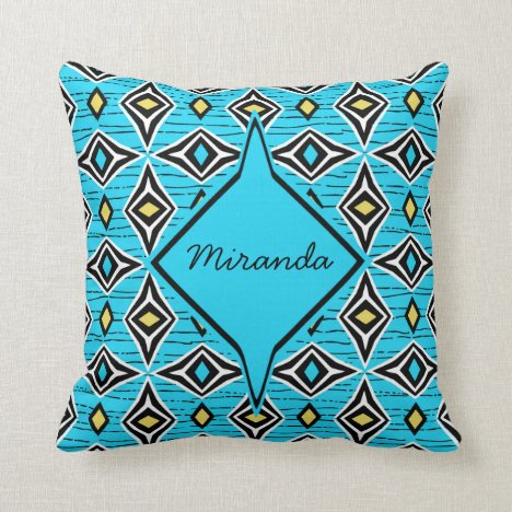 Monogram abstract blue yellow diamond gemstones throw pillow