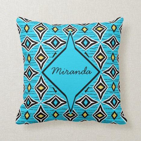 Monogram abstract blue yellow diamond gemstones throw pillow
