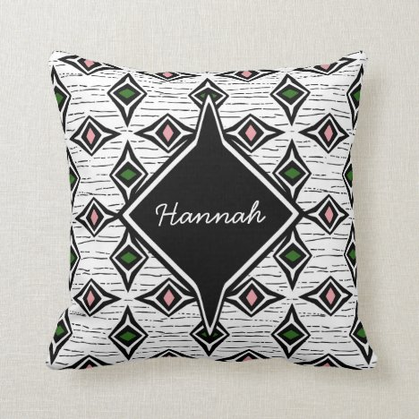 Monogram abstract emerald pink diamond gemstones throw pillow