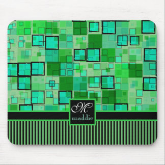 Monogram Abstract Geometric Squares Stripes Green Mouse Pad