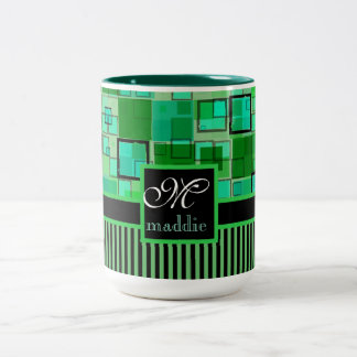 Monogram Abstract Geometric Squares Stripes Green Two-Tone Coffee Mug