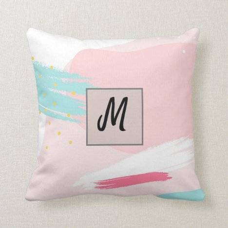 Monogram Abstract Modern Pretty Graphic Throw Pillow