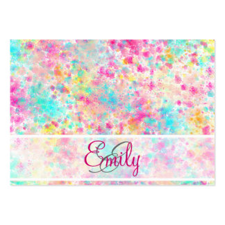 Monogram Abstract Neon Rainbow Splatter Pattern Large Business Card