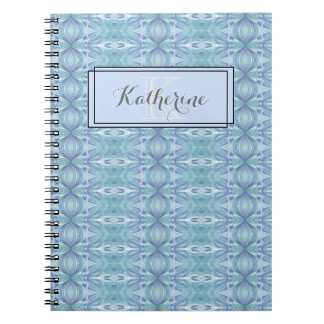 Monogram Abstract Pattern Blue - Notebook