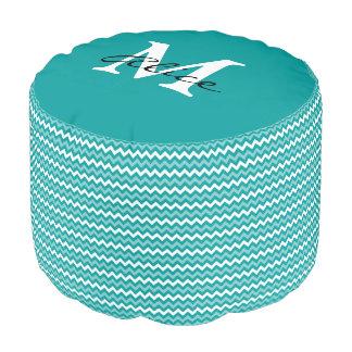 Monogram | Abstract Turquoise Chevron Pattern Pouf