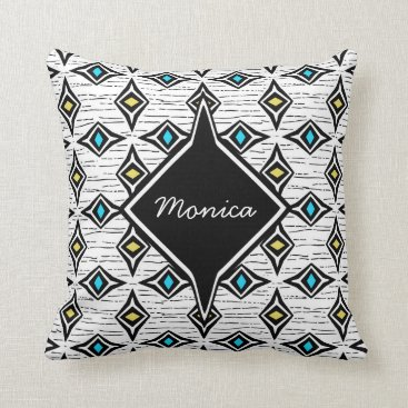 Aztec Themed Monogram abstract yellow blue sapphire gemstones throw pillow
