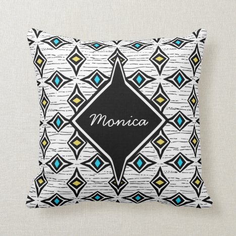 Monogram abstract yellow blue sapphire gemstones throw pillow