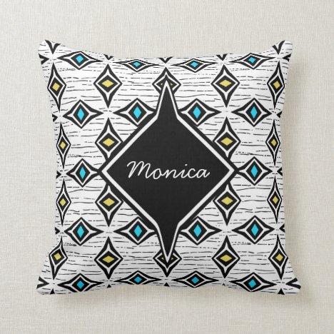 Monogram abstract yellow blue sapphire gemstones throw pillow
