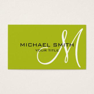 Monogram Acid green color background Business Card