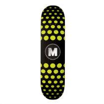 Monogram Acid green Polka Dots Pattern Skateboard Deck