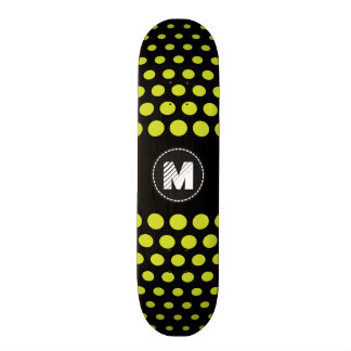 Monogram Acid green Polka Dots Pattern Skateboard Deck