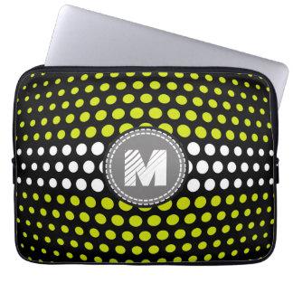 Monogram Acid green & White Polka Dots Pattern Computer Sleeve