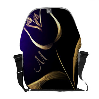 Monogram - Add Initial-  Tulip Gold/Blue/Black Messenger Bag