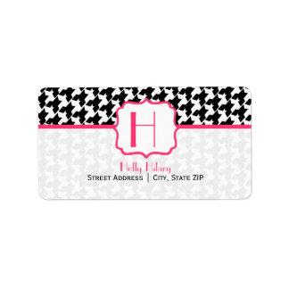 Monogram Address Label - Houndstooth and Pink