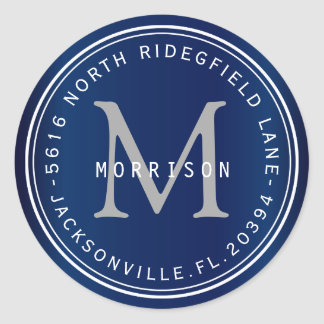 Monogram Address Label in Navy Blue