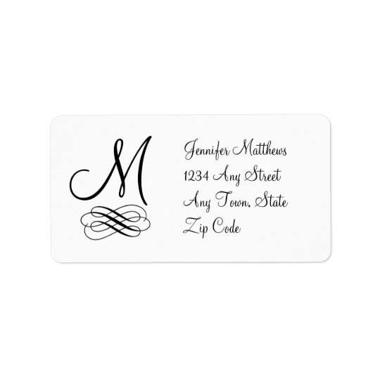Monogram Address Labels Black and White Swirls