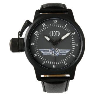 Monogram Air Pilot Chrome Like Star Wings Black Wrist Watch
