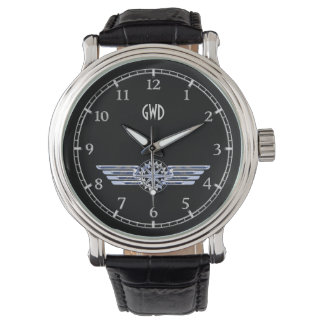 Monogram Air Pilot Silver Wings Compass on Black Wrist Watch