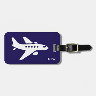 Monogram Airplane Travel Trip Custom Name, Address Luggage Tag