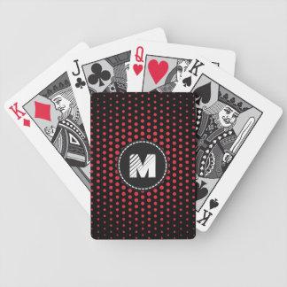Monogram Alizarin crimson Techno Dots Modern Bicycle Playing Cards