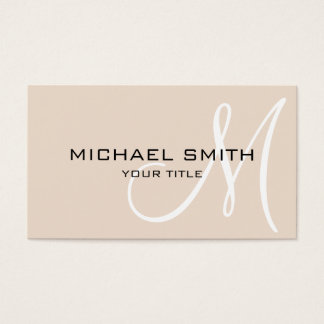 Monogram Almond color background Business Card