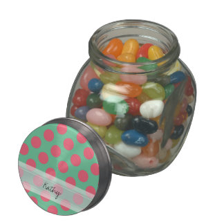 Monogram Aloe Green Coral Pink Polka Dot Pattern Jelly Belly Candy Jars