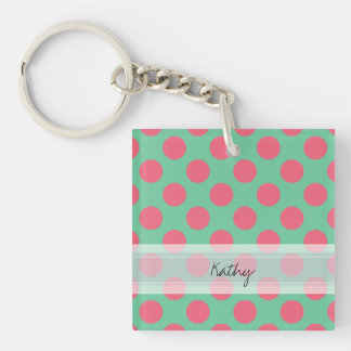 Monogram Aloe Green Coral Pink Polka Dot Pattern Keychain